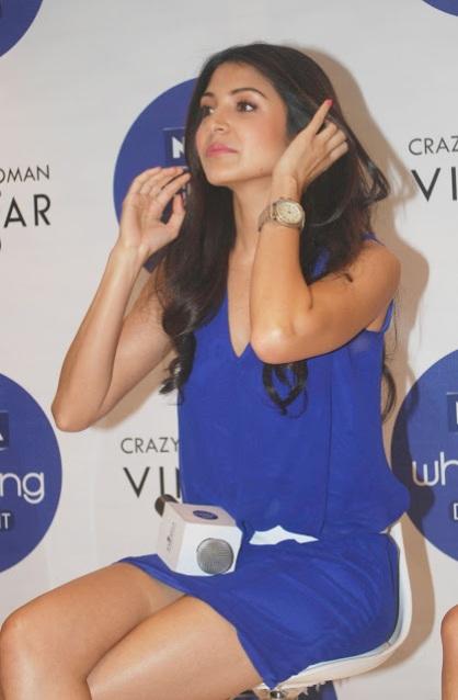 Anushka Sharma Hot Legs Show In Blue Short Dress